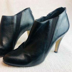 Joanne Mercer black soft leather ankle boots heels